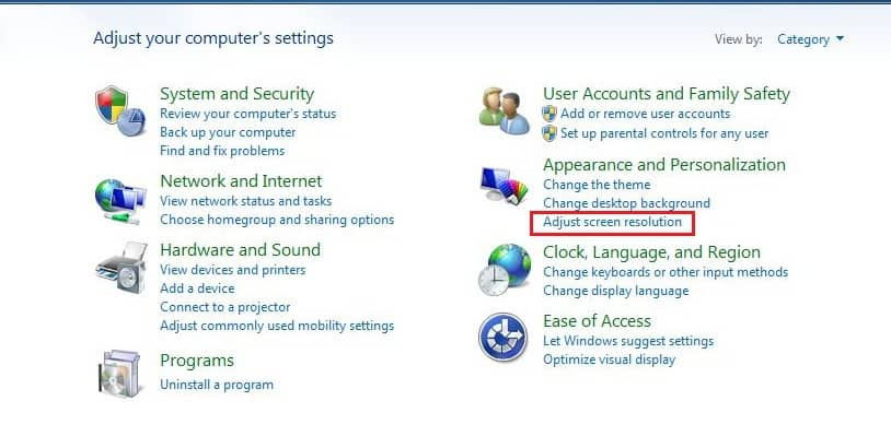 how to change screen position in windows 7