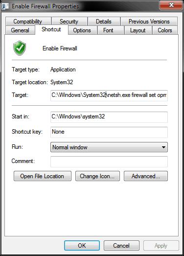 Firewall Shortcut Properties
