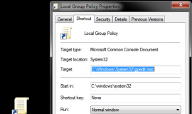 Local Group Policy Shortcut