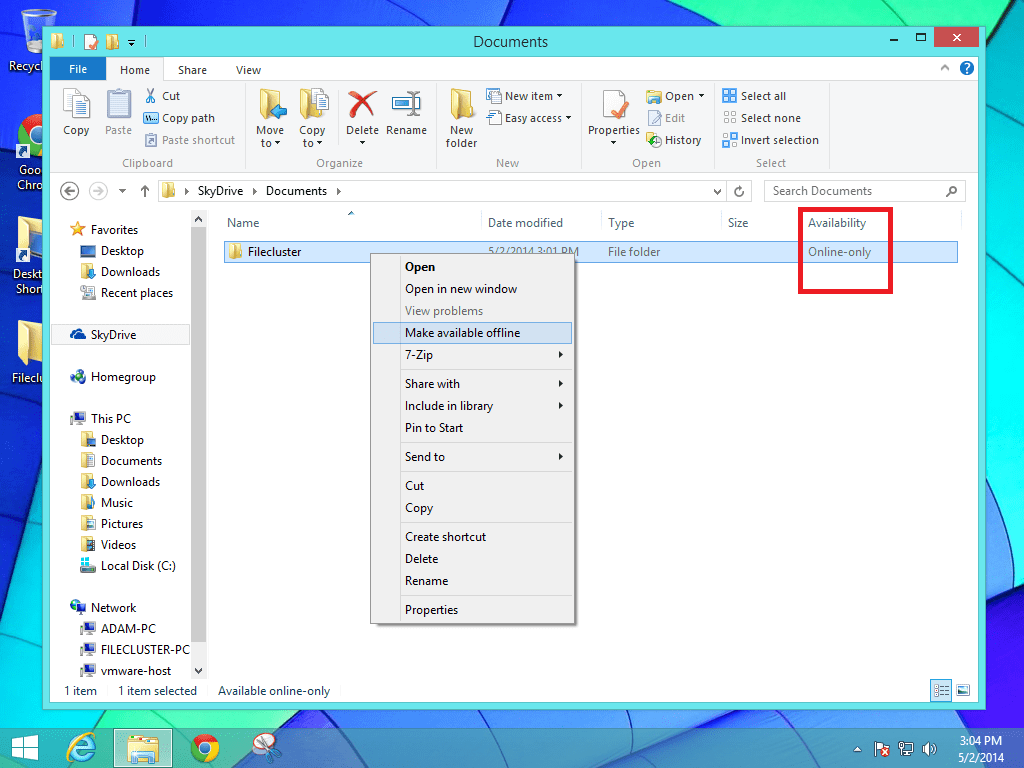 How to make onedrive files available online offline in for Documents folder to onedrive