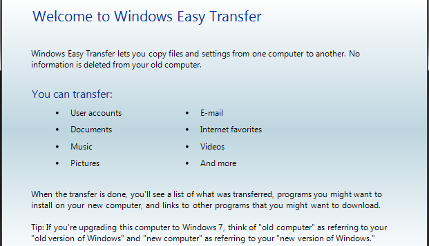 how to use windows easy transfer
