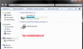 Homegroup Navigation Pane Removed