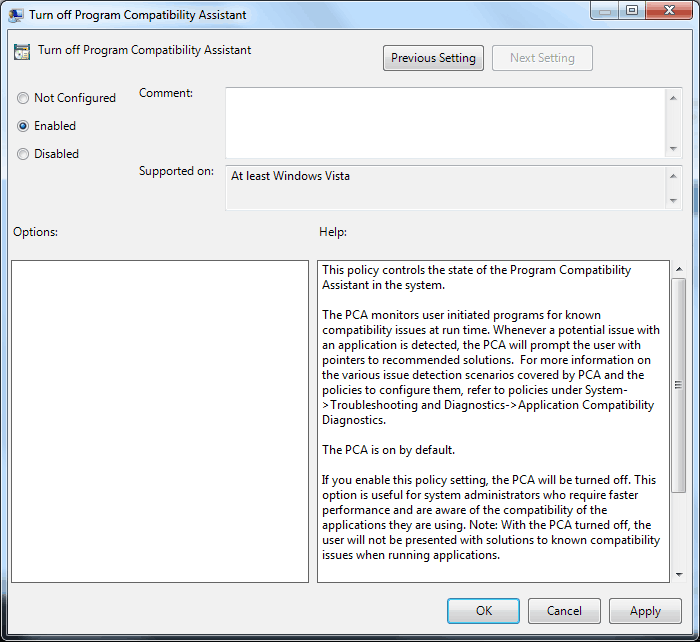 Program Compatibility Assistant - Enable or Disable ...