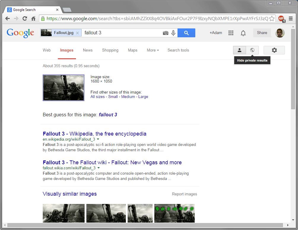 Google provides various ways of searching via image depending on which