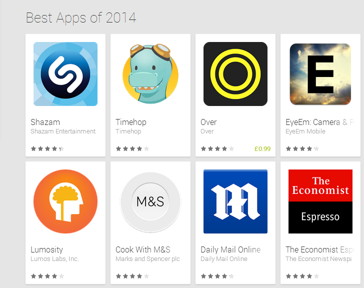 Best Apps of 2014 Google Play