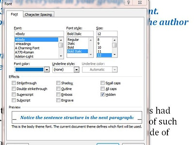 Show hide text in word
