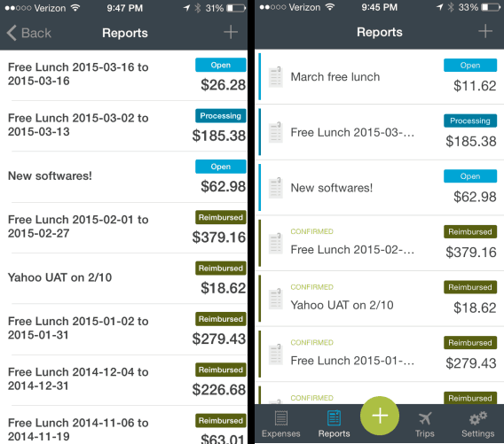 Expensify Reports Old vs New