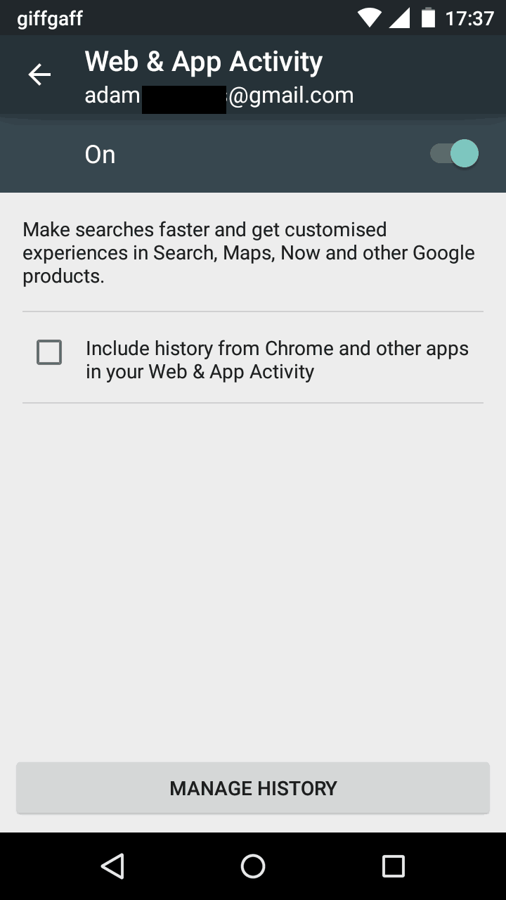Google Web & App Activity