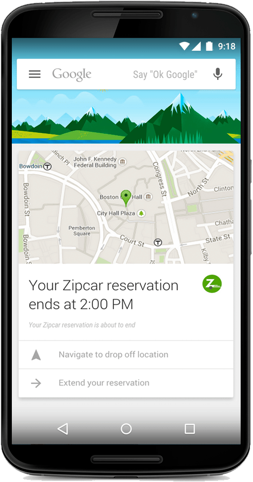 Zipcar Google Now