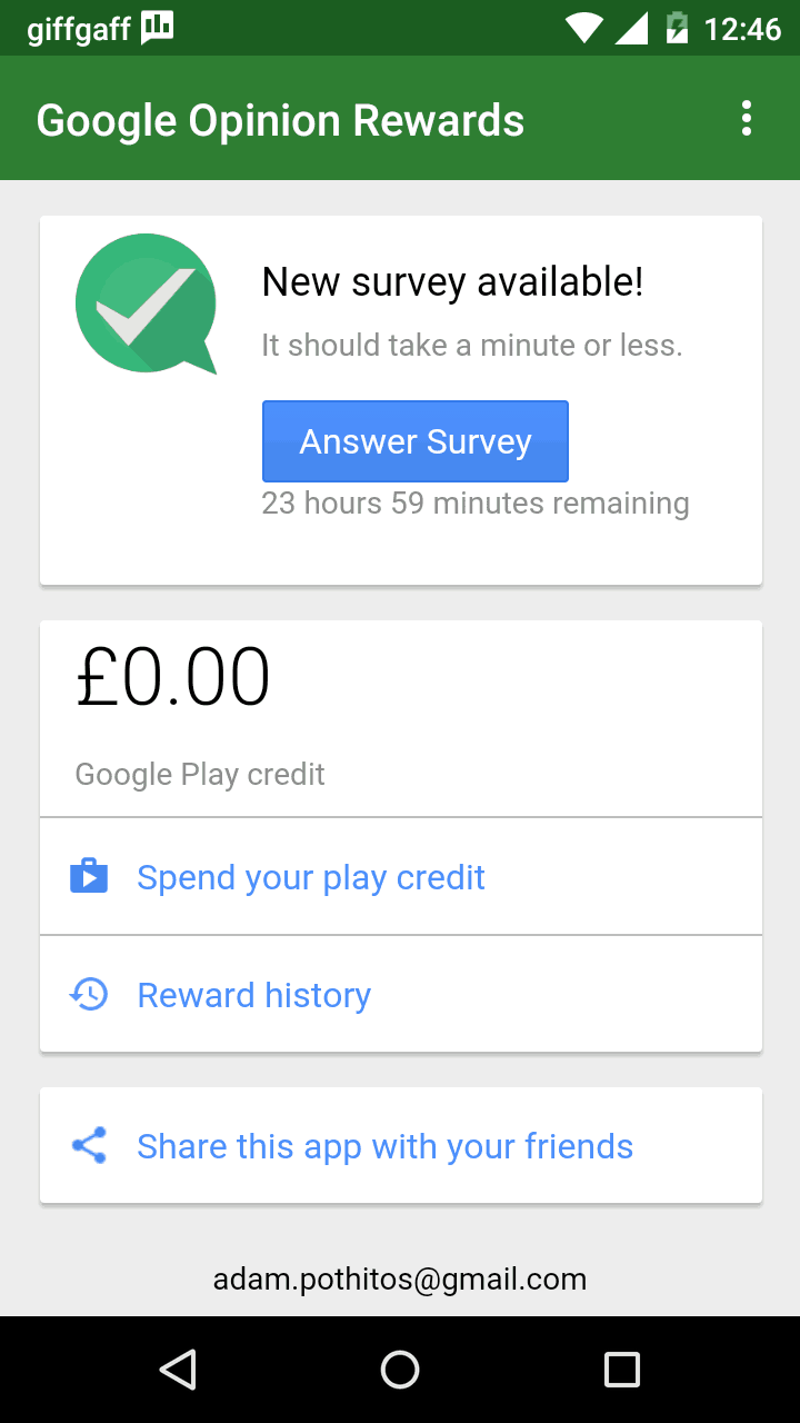 how often does google opinion rewards send surveys google opinion rewards earn google play credit by filling 3020