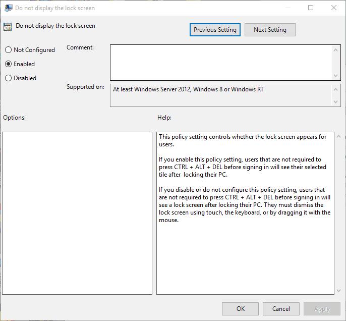Lock Screen Policy