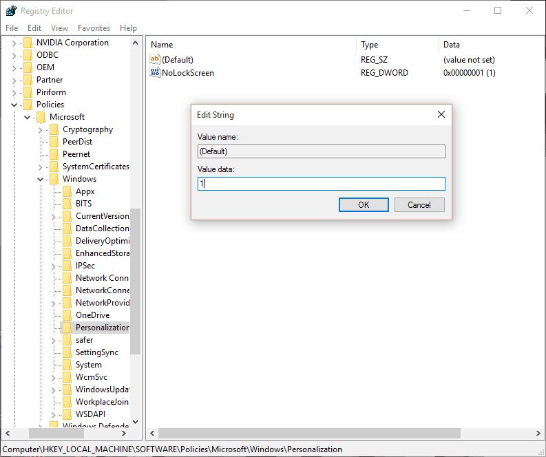 Lock Screen Registry