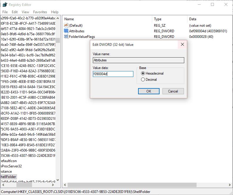 OneDrive File Explorer Registry