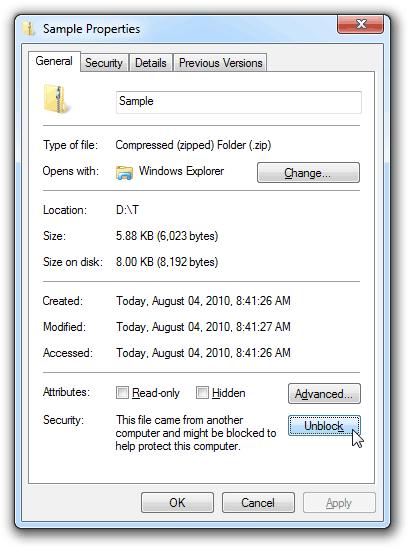 Unblock File Properties
