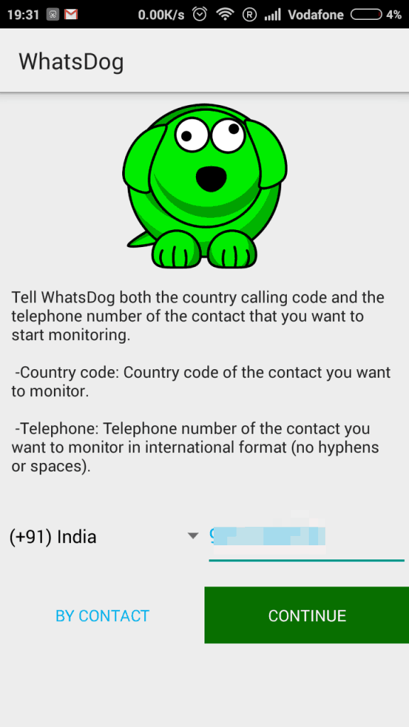 WhatsDog - Add phone number