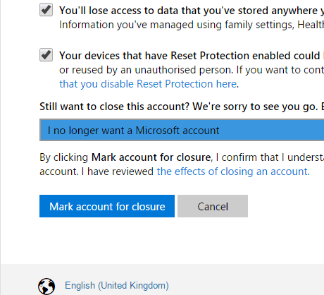 cancel microsoft account