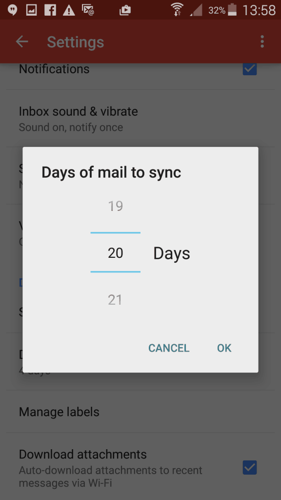 Email sync settings