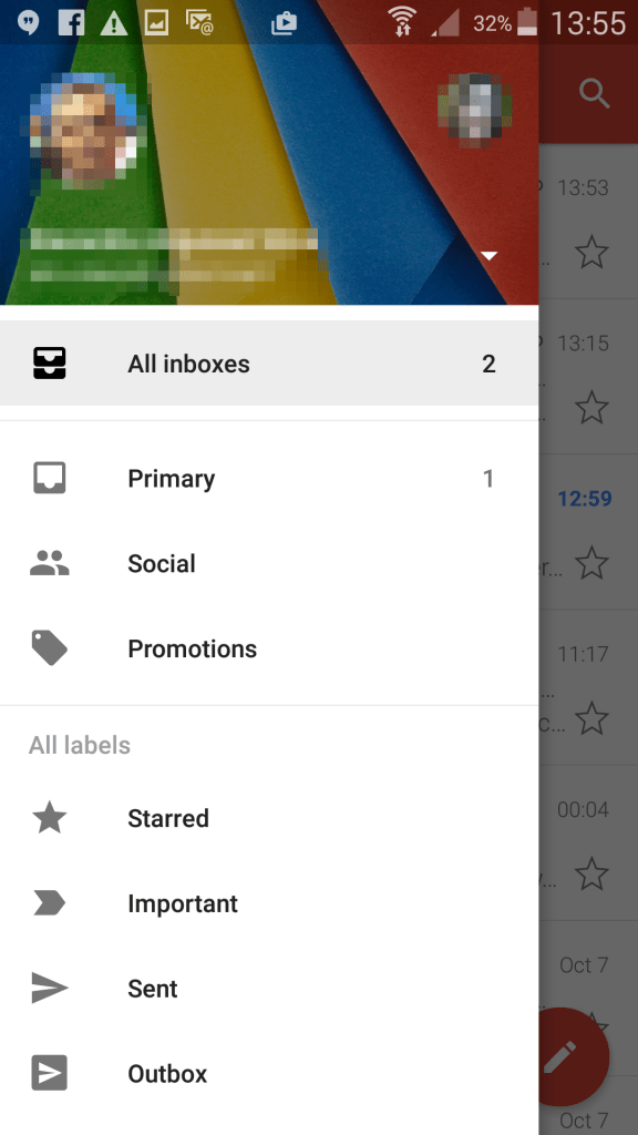 Gmail app - All inboxes