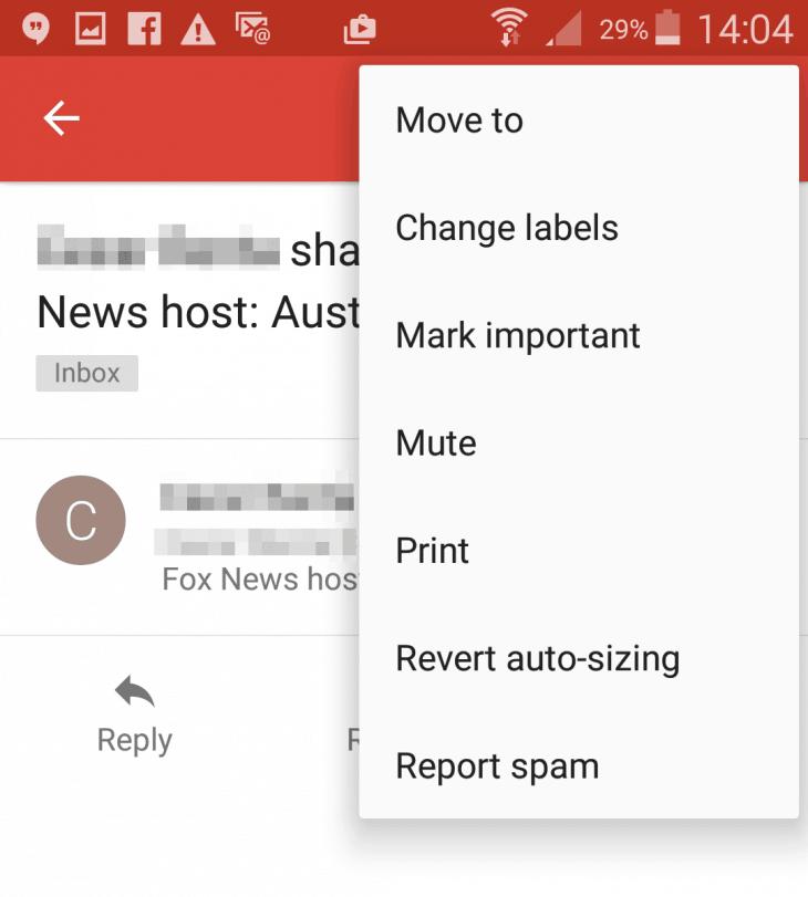 Gmail app - Mute conversations