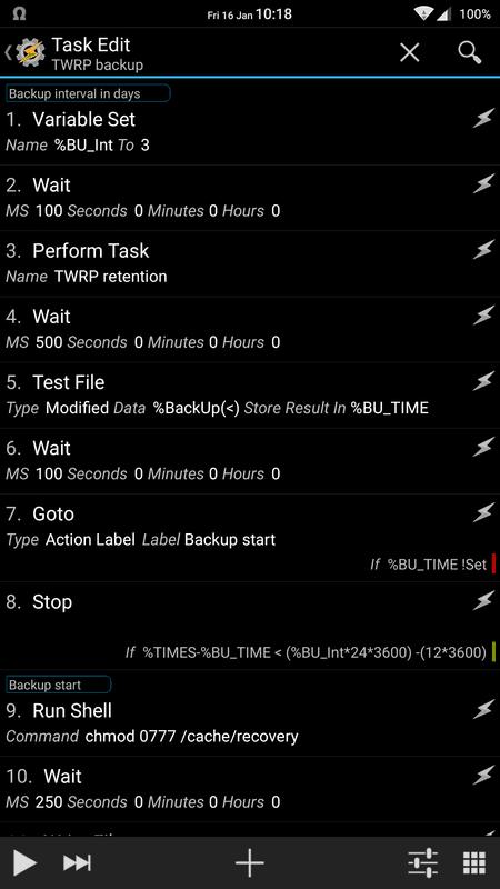 Tasker Backup Profile Edit