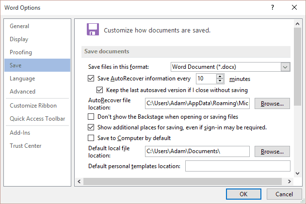 Word Save Options