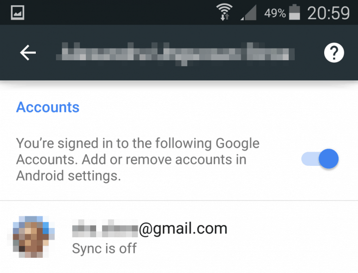 Chrome Settings - Accounts