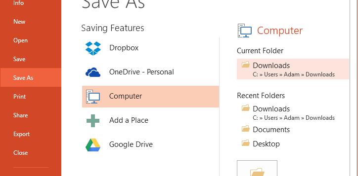 Office Drive + Dropbox Save
