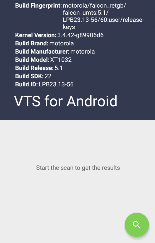VTS for Android Main