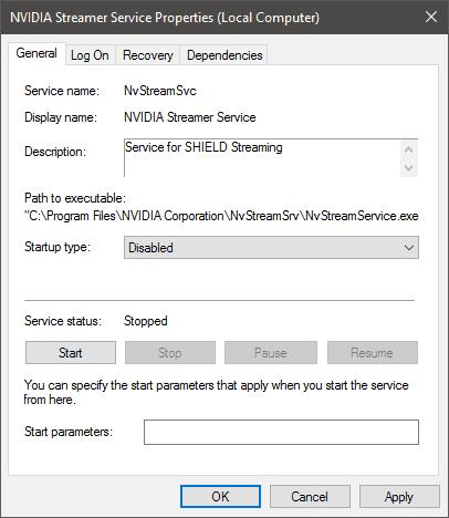NVIDIA Service Disable