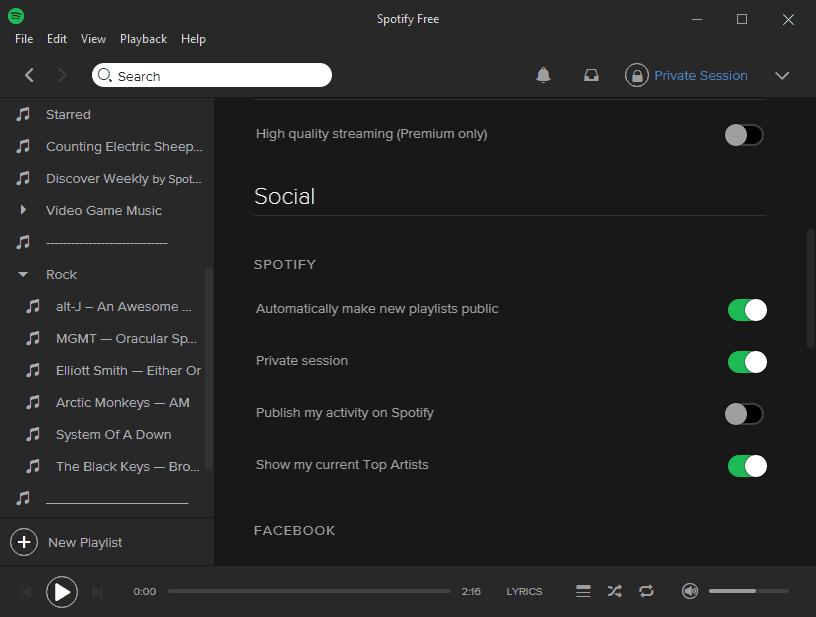Spotify Settings Social