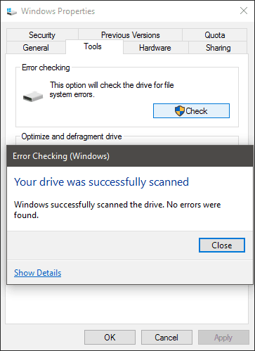 Windows 10 Check Disk