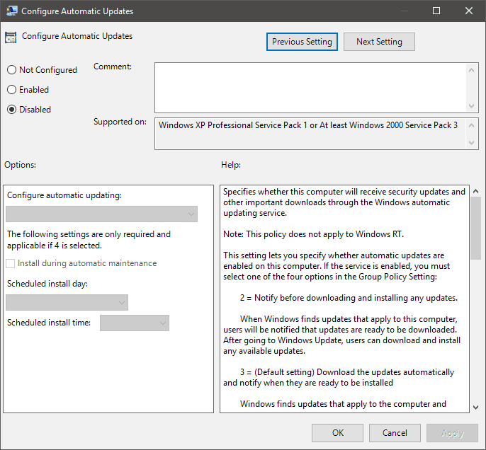 cortana disabled by company policy