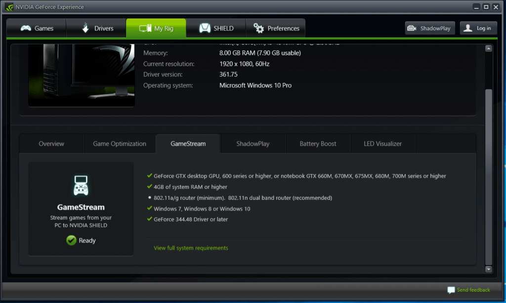 GeForce Experience GameStream Compatibility