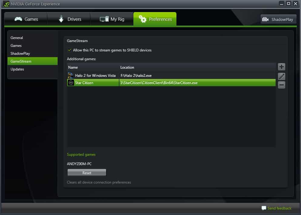 GeForce Experience GameStream