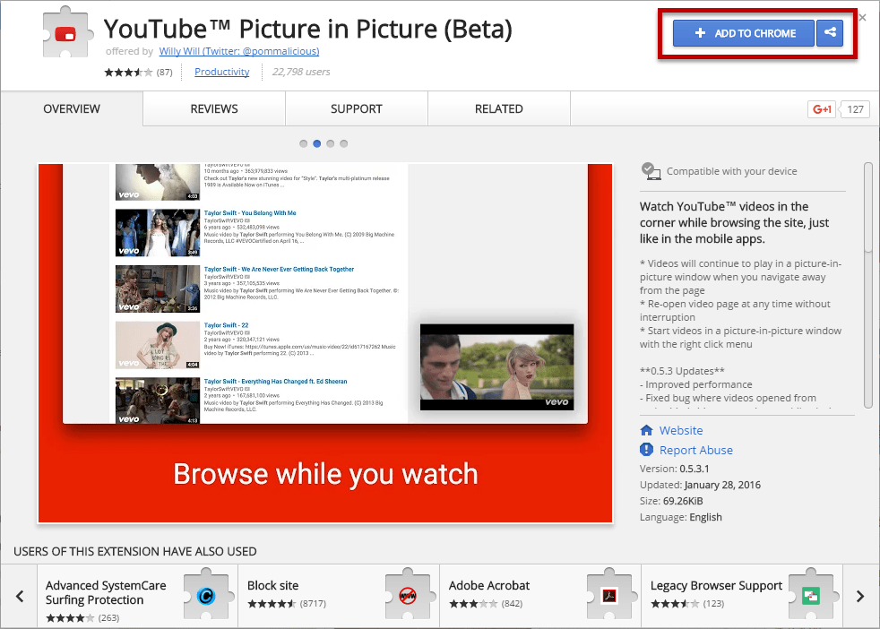 Install YouTube Picture in Picture extension for Chrome