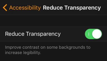 Watch app - Reduce Transparency