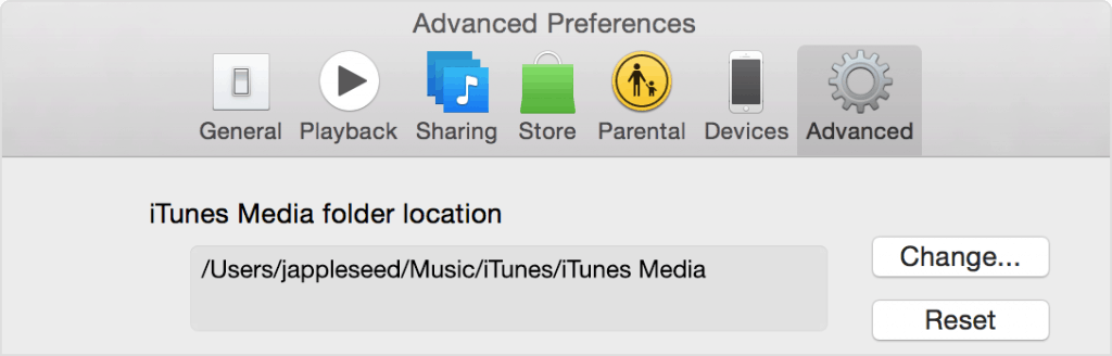 iTunes Library Location