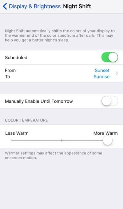 iOS 9.3 features - Night Shift