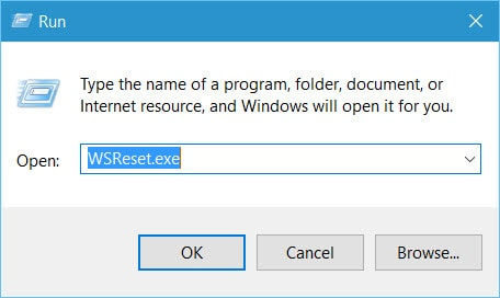 The Run windows will be displayed. There, type WSReset.exe and hit the ...