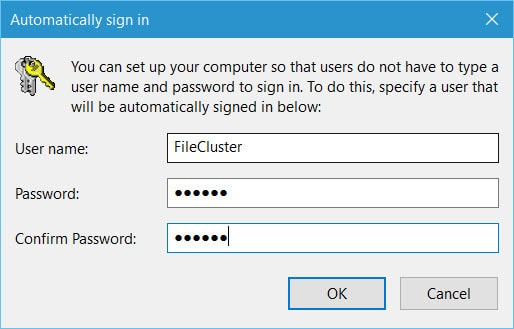 Your username and password type in your credentials and click ok