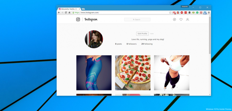 Upload Instagram photos on Windows