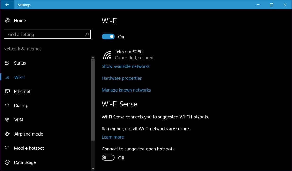 Use Wi-Fi Sense in Windows 10