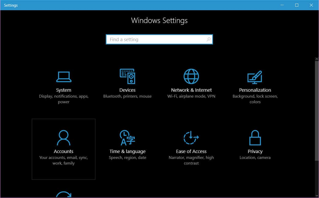disable account syncing in Windows 10