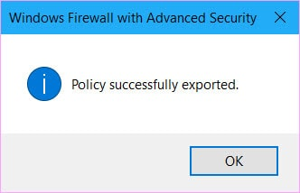 Windows Firewall Policy Succesfully Exported