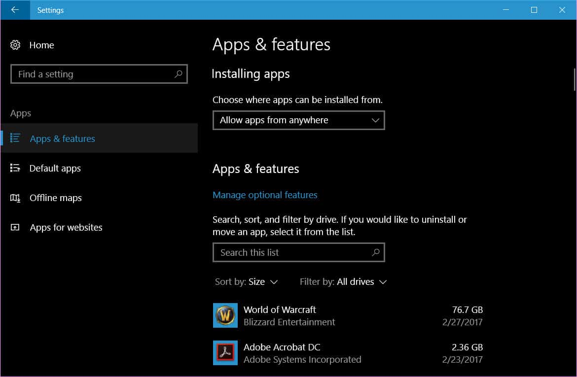 choose where apps are installed from in Windows 10