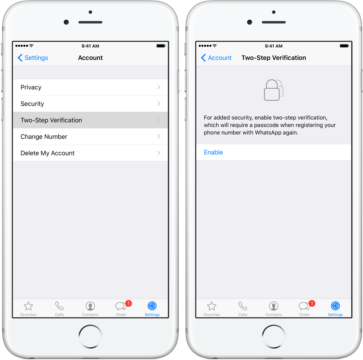 enable WhatsApp two-step verification on iPhone
