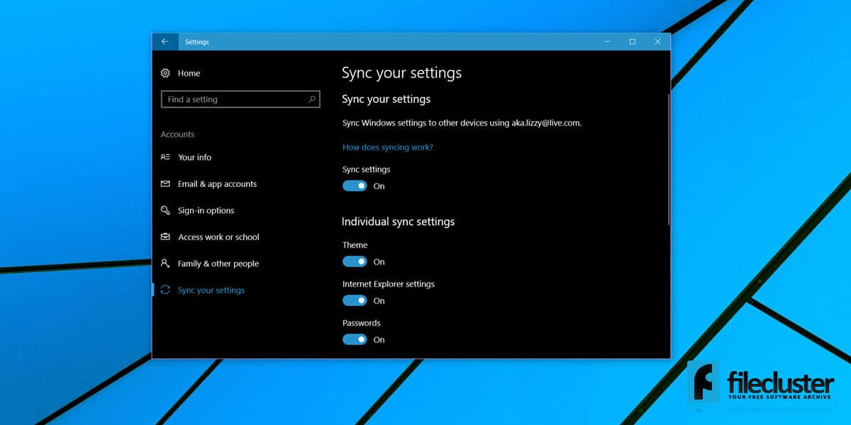 how to turn on sync settings in windows 10