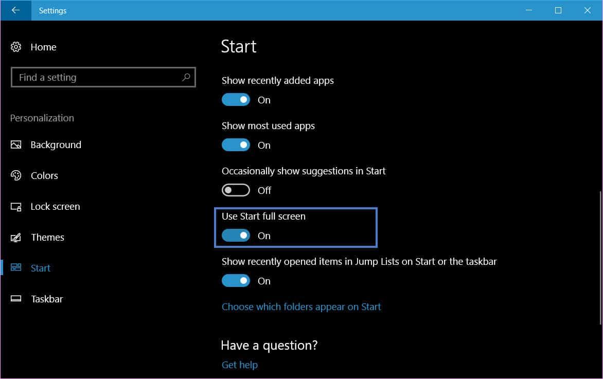 make the Windows 10 Start Menu run in full screen