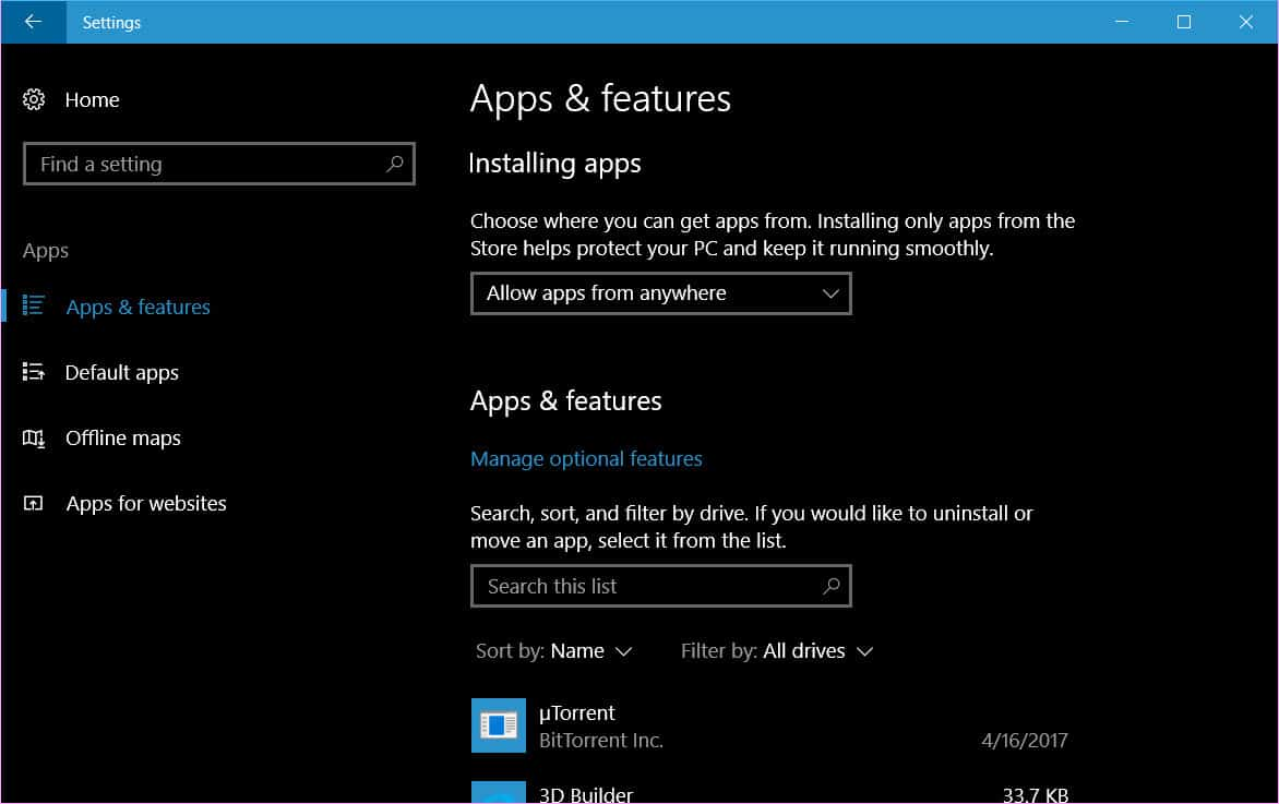 move apps to another drive in Windows 10