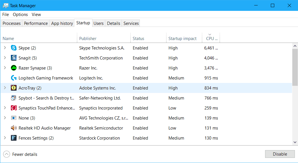 find the startup time of an app in Windows